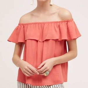 Anthropologie Maeve Ruffle Coral Off Shoulder Top